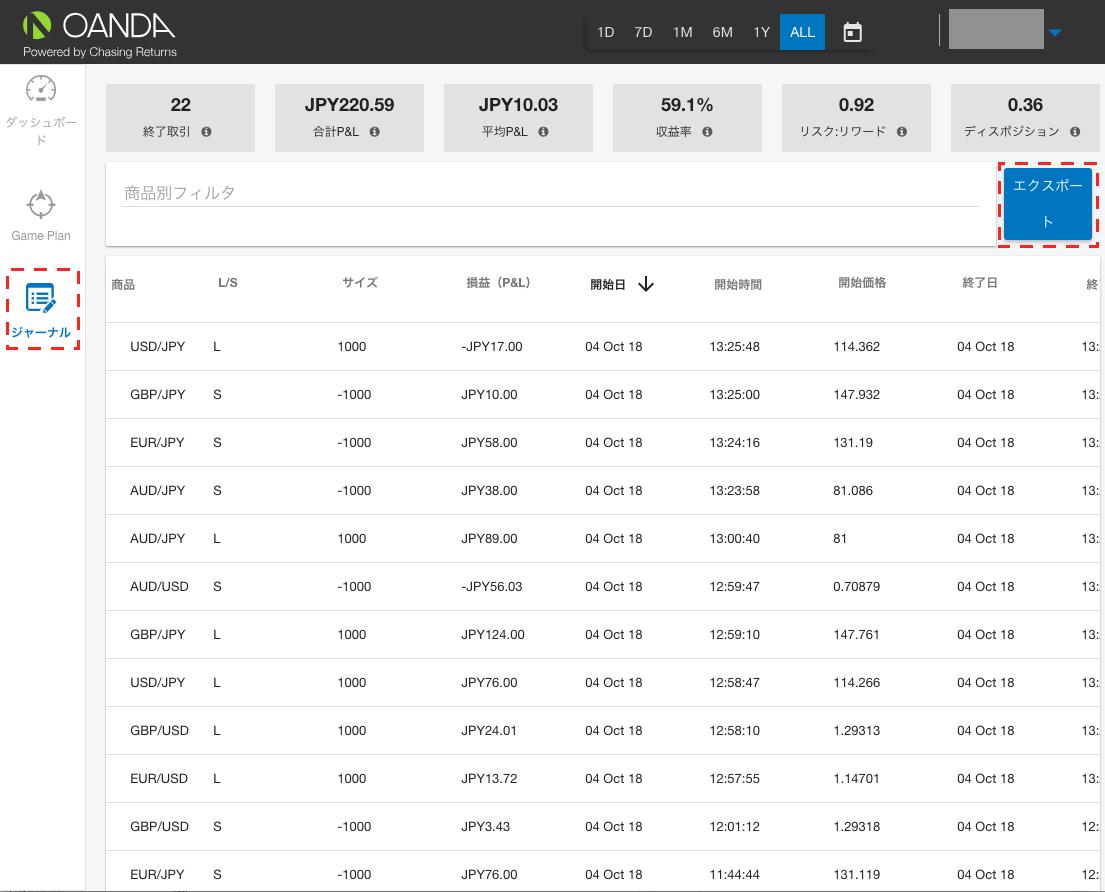 トレードデータのCSVデータのダウンロード方法
