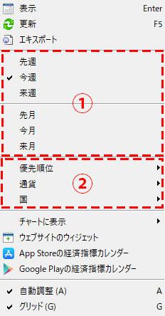 MT5の経済指標カレンダーの設定の画像