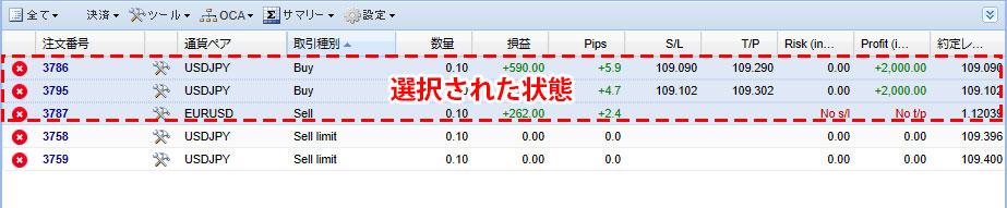 MT5のTradeTerminalでポジション・注文が選択された状態の画像