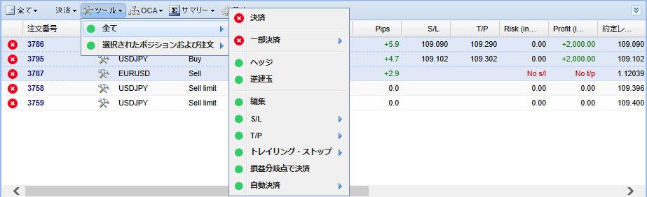 MT5のTradeterminalのツールから注文、ポジションの決済、取消、変更の画像