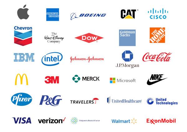 NYダウ工業株30種平均を構成する企業のイメージ画像