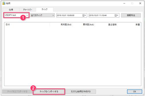 MT5用のティックデータのダウンロード、インポートの方法