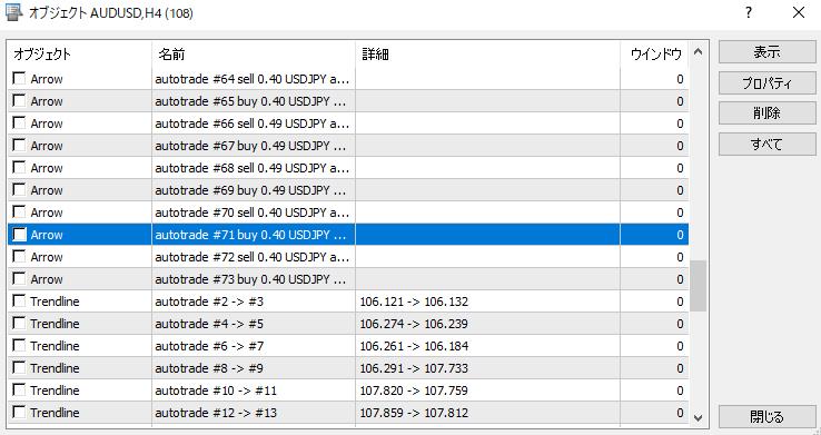 MT5(メタトレーダー5)のチャート上の取引履歴の矢印を消す方法