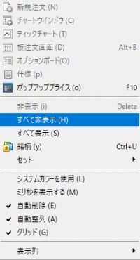 MT5の気配値表示で右クリックし、すべて非表示を選択する画像